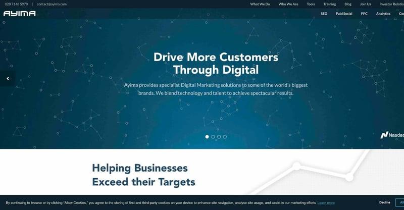 Ayima Marketing Agency Website