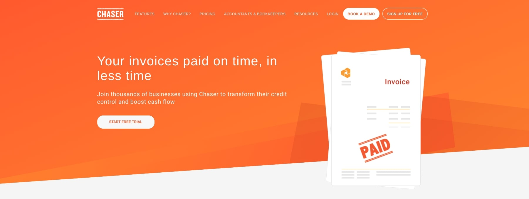 Chaser FinTech Website Homepage
