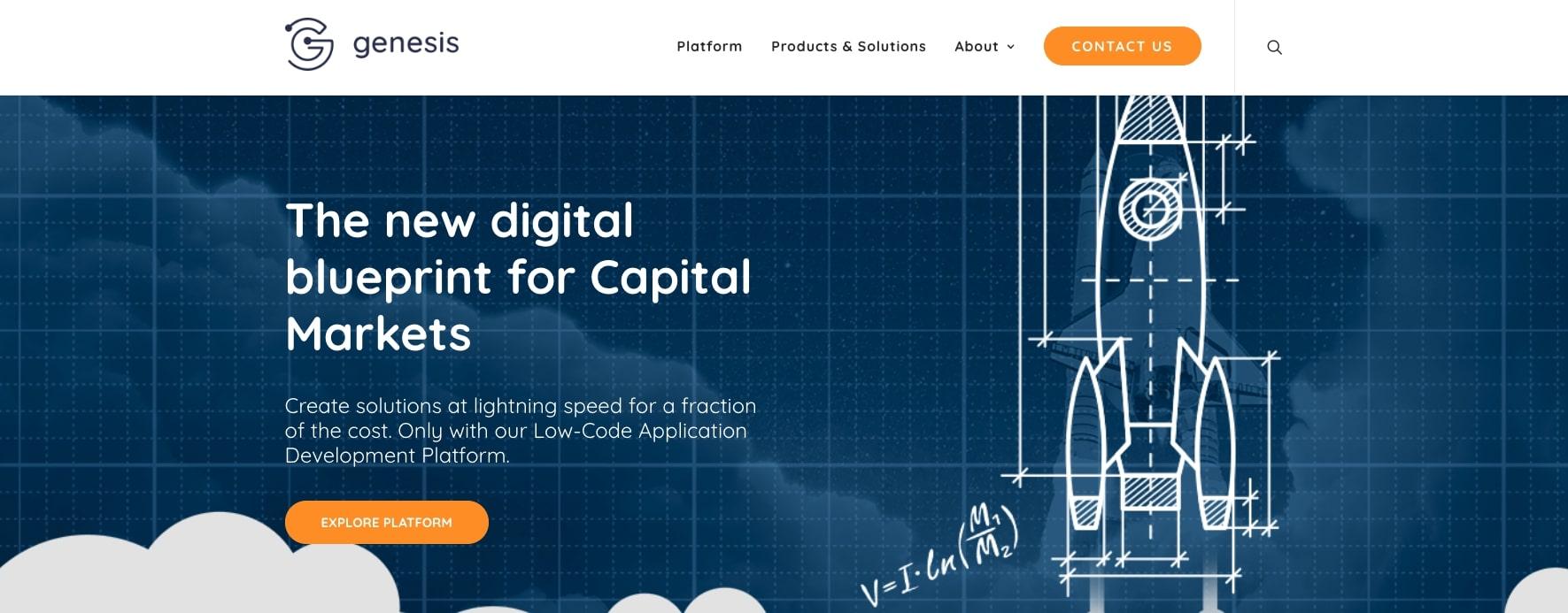 Genesis FinTech Website Homepage