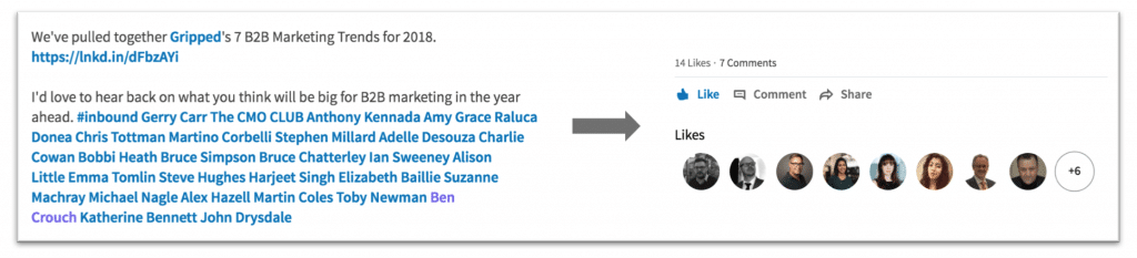 Tagging others increases the likelihood of your audience engaging with your article
