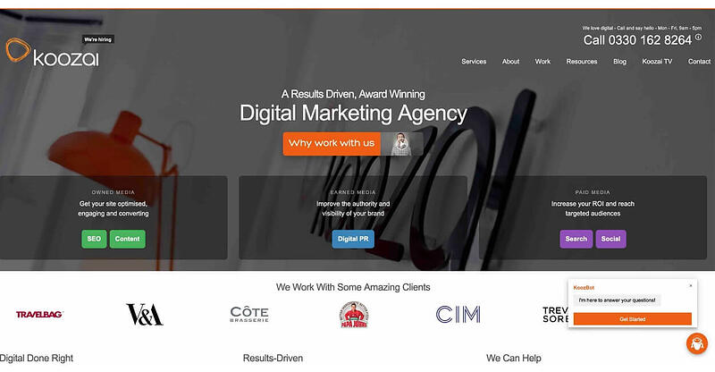 Koozai Marketing Agency Website